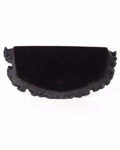 Ivoire De Balmain Black Velvet Clutch Evening Bag With Ruffles