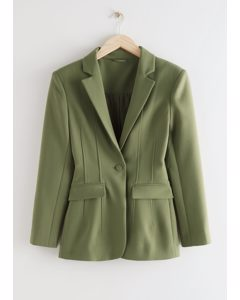 Taillierter, einreihiger Blazer Grün