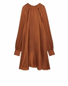 Tie-neck Linen Blend Dress Terracotta