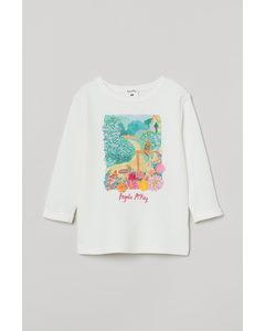 Sweatshirt Med Tryck Naturvit/leoparder