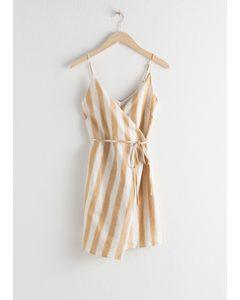 Striped Cotton Linen Mini Wrap Dress Stripe