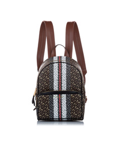 Burberry Monogram Coated Canvas Backpack Brown