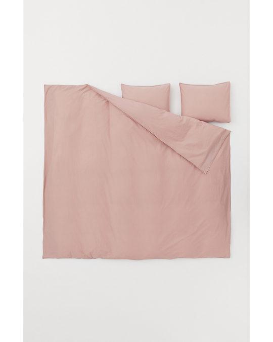 H&M HOME Washed Cotton Duvet Cover Set Powder Pink
