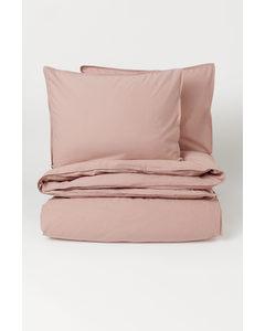 Washed Cotton Duvet Cover Set Powder Pink