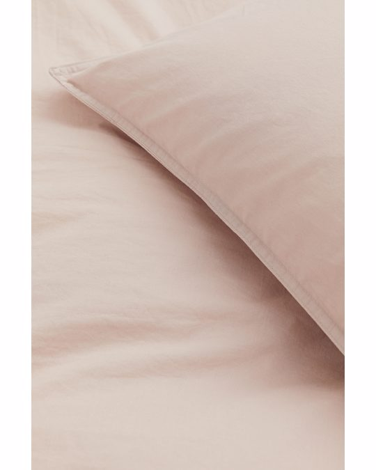 H&M HOME Washed Cotton Duvet Cover Set Powder Beige