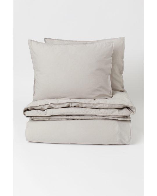 H&M HOME Washed Cotton Duvet Cover Set Light Mole