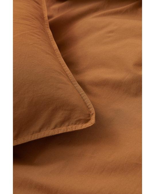 H&M HOME Washed Cotton Duvet Cover Set Light Brown