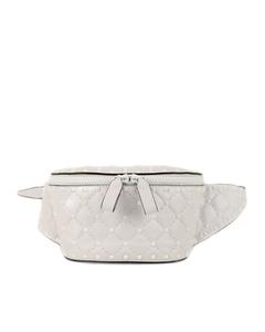 Valentino Rockstud Leather Belt Bag White