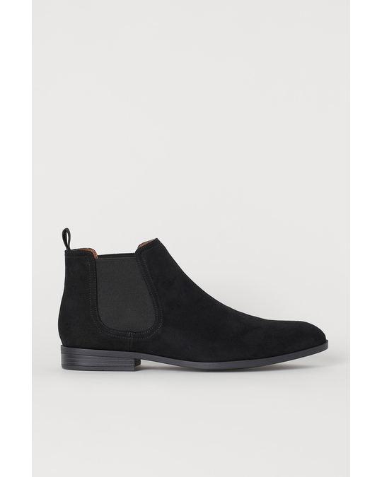 H&M Chelsea boots Black/Imitation suede