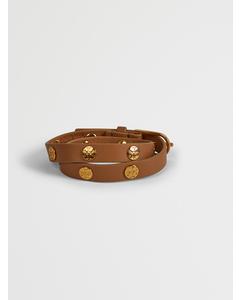 Double-wrap Logo Stud Bracelet Aged Vachetta / Tory Gold