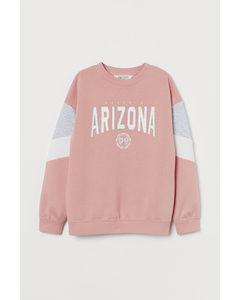 Sweatshirt Med Tryck Puderrosa/arizona