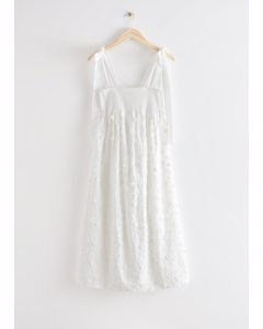 Floral Embroidery Midi Dress White