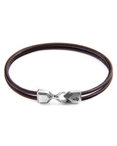 Anchor & Crew Mocha Brown Cromer Silver And Round Leather Bracelet