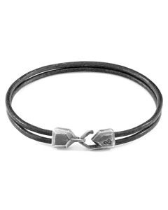 Anchor & Crew Shadow Grey Cromer Silver And Round Leather Bracelet