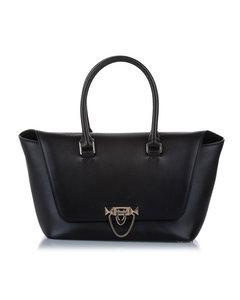 Valentino Demilune Leather Satchel Black