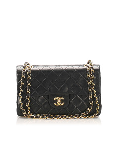 Chanel Small Classic Lambskin Leather Double Flap Bag Black