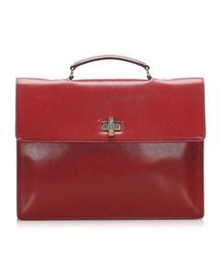 Celine Leather Business Bag Red