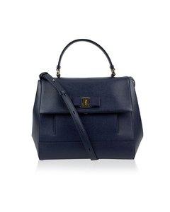 Salvatore Ferragamo Blue Leather Carrie Satchel Mint Tote Shoulder Bag