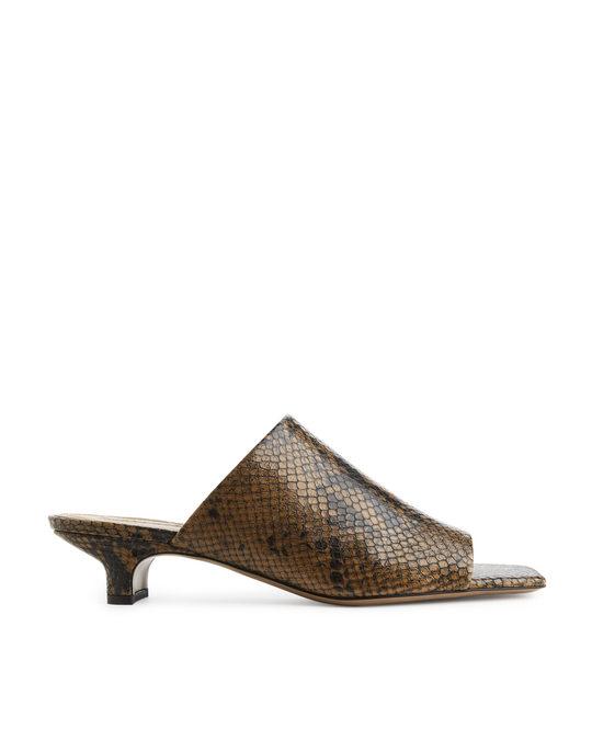 Arket Square Toe Snake Mules Brown