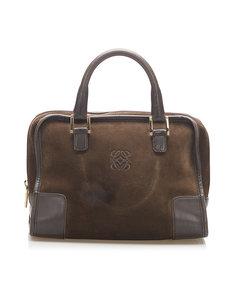 Loewe Amazona 28 Suede Handbag Brown