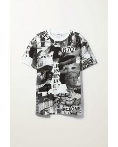 Oversized Printed T-shirt Black & White