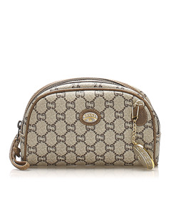 Gucci Gg Plus Coated Canvas Pouch Brown