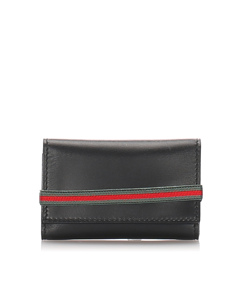 Gucci Leather Web Key Holder Black