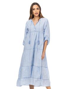 Gingham V Neck Maxi Dress With Tassels