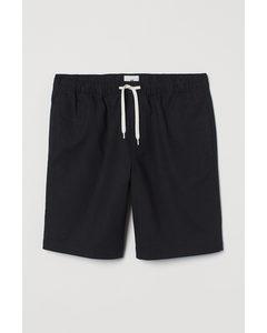 Shorts aus Leinenmischung Schwarz