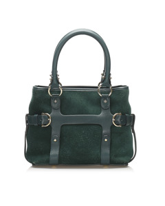 Ferragamo Suede Leather Satchel Green