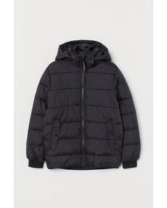 Wattierte Jacke mit Kapuze Schwarz