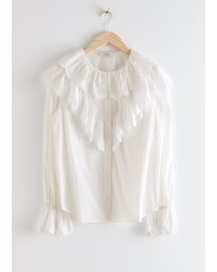 Relaxed Embroidered Ruffle Button Up Blouse White