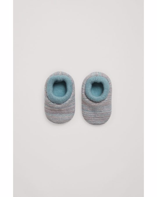 COS Knitted Cotton-wool Booties Turquoise / Grey