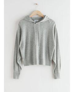 Oversized Wool Knit Hoodie Grey Melange