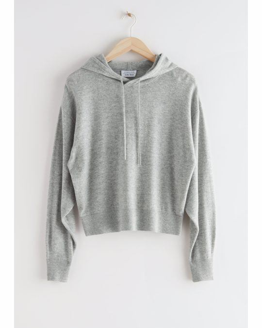 & Other Stories Oversized-Strick-Hoodie aus Wolle Graumeliert