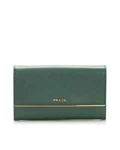 Prada Leather Long Wallet Green