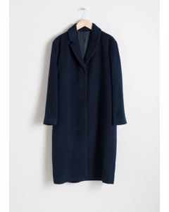 Wool Blend Long Coat Blue