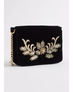 Beaded Velvet Crossbody Bag Black
