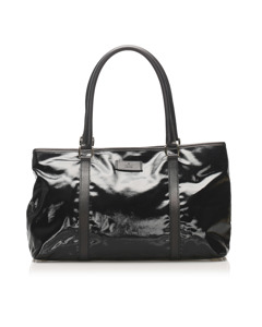 Gucci Patent Leather Tote Bag Black