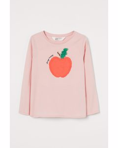 Jerseyshirt mit Motiv Hellrosa/Apfel