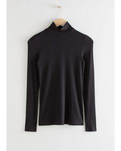 Long Sleeve Turtleneck Top Black