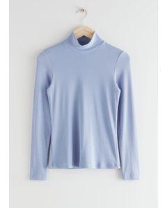 Long Sleeve Turtleneck Top Light Blue