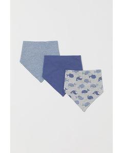 Set Van 3 Puntsjaaltjes Blauw/walvissen