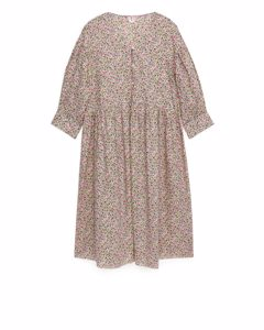Wide-fit Voile Dress Off White/multi