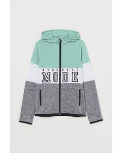 Hooded Fleece Jacket Turquoise/grey Marl