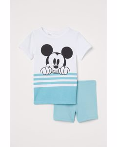 Pyjama aus Baumwolle Helltürkis/Micky Maus