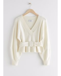 Oversized Belted V-cut Sweater White