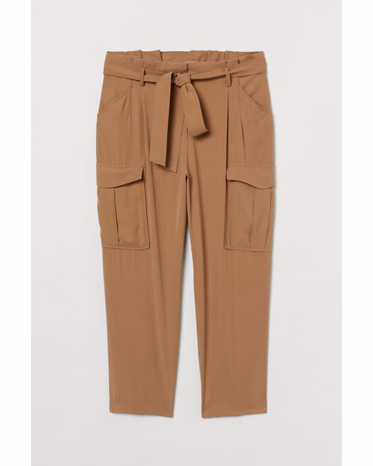 H&M H&m+ Paper Bag Trousers Dark Beige