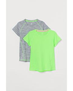 2er-Pack Sportshirts Dunkelgrün/Graumeliert