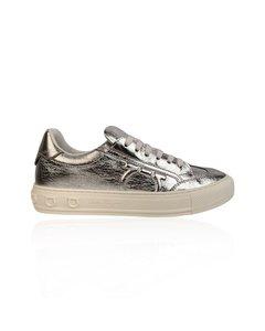 Salvatore Ferragamo Silver Leather Borg Sneakers Size Us 7c Eu 37.5